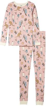 Cotton On Jessie Long Sleeve Waffle Pajama Set (Little Kids to Toddler/Little Kids/Big Kids) (Peach Whip/Australiana) Girl's Active Sets