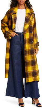 Sea Amber Plaid Double Breasted Wool Coat