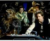 "Star Wars Peter Mayhew Signed ""Chewbacca"" with Princess Leia, C3PO, Luke and Han Solo in Millenium Falcon 16"" x 20"" Photo Poster"