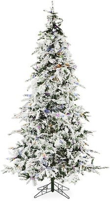 Christmas Time 7.5-Ft. White Pine Snowy Multi-Color Led String Lighting & Holiday Soundtrack Artificial Christmas Tree