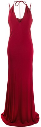 DSQUARED2 Halterneck Plunge Evening Dress