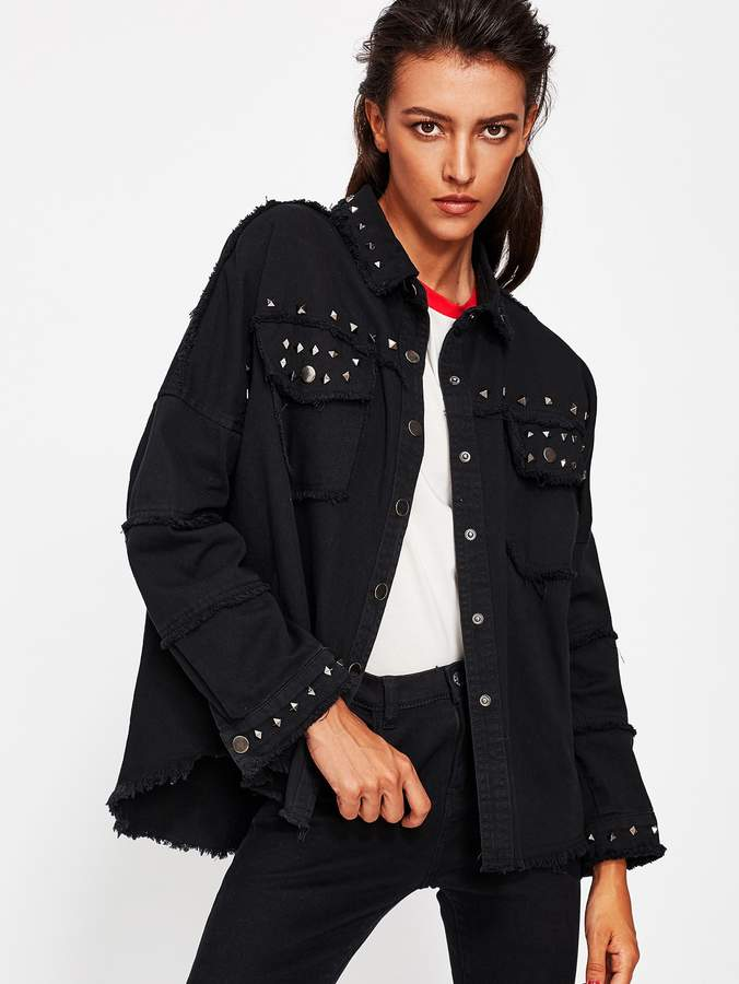 48067535a5 Fray Hem Denim Jacket - ShopStyle