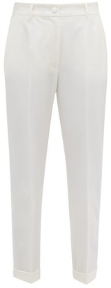 Dolce & Gabbana High Rise Wool Blend Crepe Trousers - Womens - White