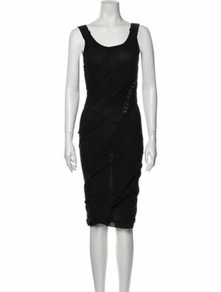 Dolce & Gabbana Ruched Midi Dress Black