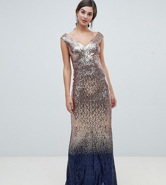 City Goddess Tall ombre sequin embellished maxi dress-Gold