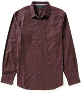 Perry Ellis Dot Pattern Dobby Long-Sleeve Woven Shirt