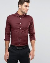 Asos Skinny Shirt In Burgundy With Long Sleeves