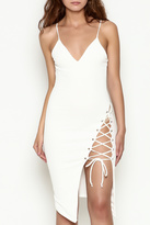 Hot & Delicious Tie Up White Dress