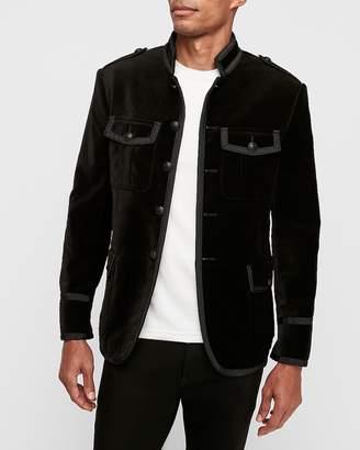 Express Black Velvet Military Blazer