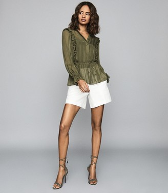 Reiss ALANDRA SEMI-SHEER RUFFLED TOP Khaki