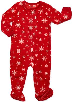 Leveret Footies - Red Snowflake Pattern Fleece Footie - Infant, Toddler & Kids