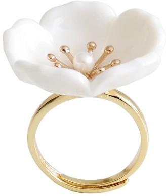 Poporcelain Snow White Porcelain Plum Blossom Ring