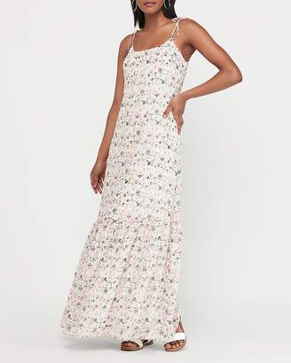 Express Metallic Floral Tie Strap Tiered Maxi Dress