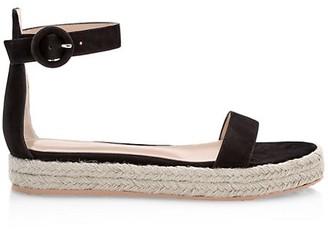 Gianvito Rossi Portofino Suede Espadrille Flatform Sandals