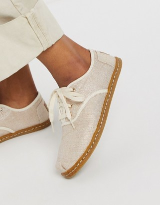 Toms cordones lace up espadrilles in natural