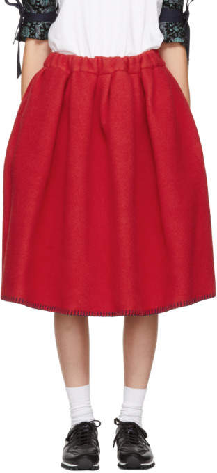 Comme des Garcons Red Wool Blanket Skirt