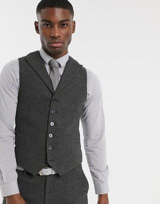 ASOS DESIGN wedding super skinny suit suit vest in wool mix herringbone in charcoal