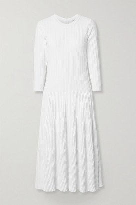 CASASOLA Ribbed-knit Midi Dress - White