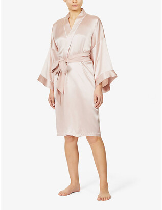 Olivia von Halle Mimi belted silk-satin kimono robe