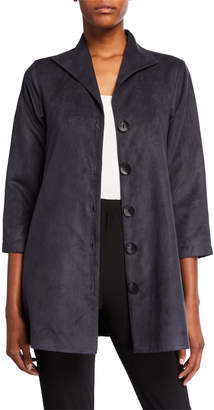 Caroline Rose Plus Size Modern Faux-Suede Button-Front City Jacket