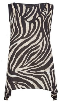 Dorothy Perkins Womens Zebra Print Hanky Hem Top