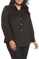 Foxcroft Plus Size Women's Jena Faux Suede Shirt