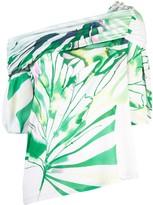 Josie Natori botaical palms off shoulder blouse