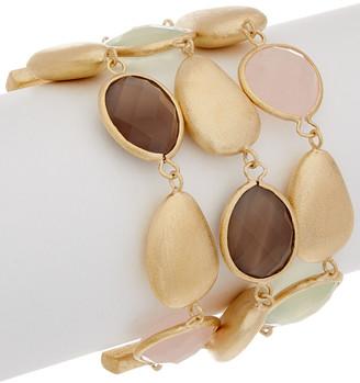 Rivka Friedman 18K Gold Clad Crystal & Gemstone Bracelet