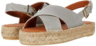 ALOHAS Crossed Linen Platform Espadrille Sandal (Grey) Women's Shoes