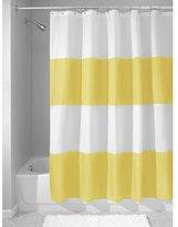 InterDesign Mildew-Free Water-Repellent Zeno Fabric Shower Curtain, 72-Inch by 72-Inch, Yellow/White