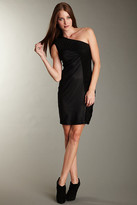 Andrew Marc French Mesh One Shoulder Dress