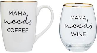 Indigo Mama Needs Cofee And Wine Set