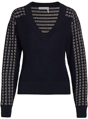 See by Chloe Lacy Knit Wool-Blend Pullover