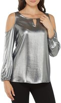 Peter Nygard Cold Shoulder Metallic Top