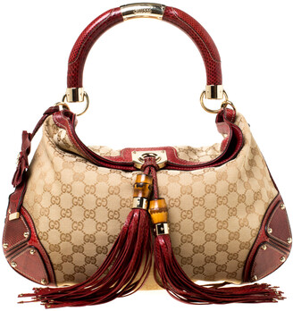 Gucci Beige/Red GG Canvas and Python Medium Babouska Indy Hobo