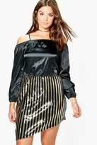 boohoo Plus Vanessa Sequin Open Shoulder Satin Dress multi