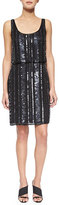 Aidan Mattox Sleeveless Striped Beaded Blouson Dress