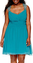 City Triangles Sleeveless Embellished-Shoulder Short Party Dress - Juniors Plus