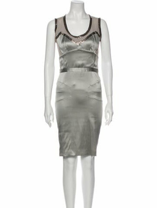 Dolce & Gabbana Silk Knee-Length Dress Grey