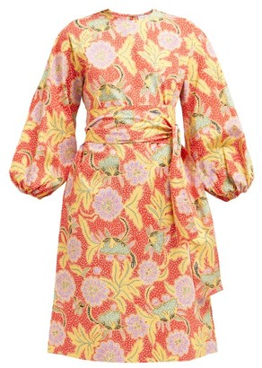 Rhode Resort Athena Floral Print Cotton Blend Dress - Womens - Red Multi
