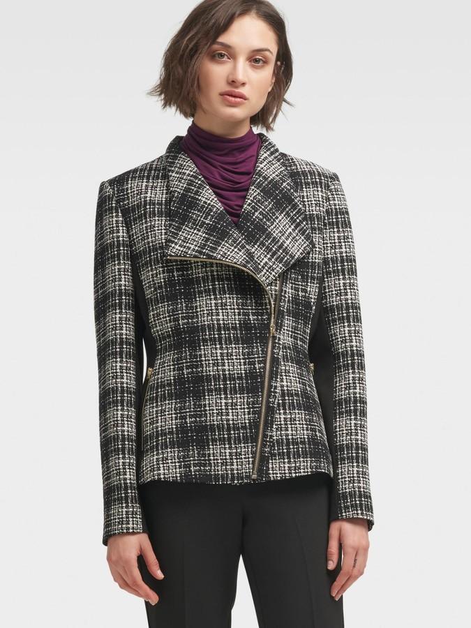 DKNY Women's Plaid Moto Jacket - Black Combo - Size XS