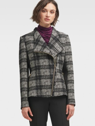 DKNY Women's Plaid Moto Jacket - Black Combo - Size XS