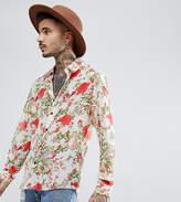 Reclaimed Vintage Inspired Shirt In White Rose Print Reg Fit