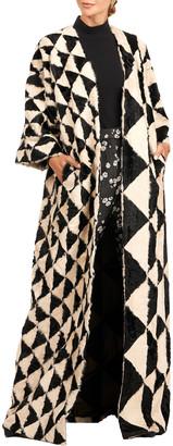 Oscar de la Renta Napa Lamb Triangle Intarsia Kimono Coat