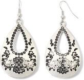 JCPenney Decree Engraved Silver-Tone Teardrop Earrings