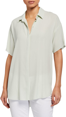 Eileen Fisher Classic Collar Short-Sleeve Silk Crepe Button-Down Shirt