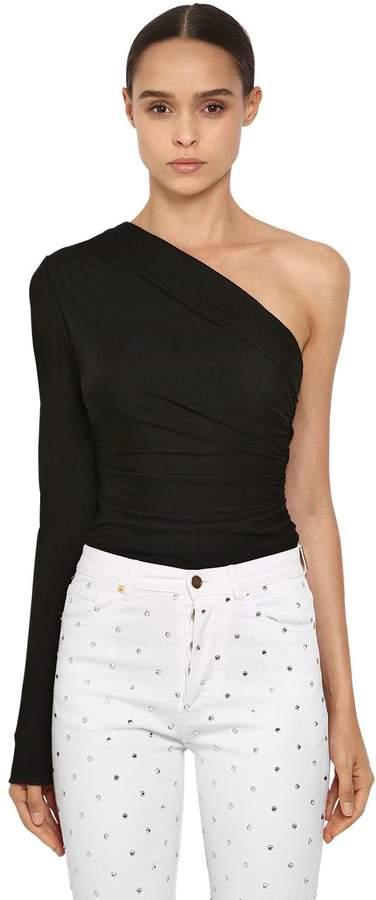 Alexandre Vauthier One Shoulder Rib Knit Jersey Bodysuit