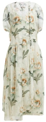 By Walid Aida Floral-print Cotton-tulle Midi Dress - Ivory Multi