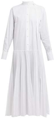 Valentino Pleated Cotton-poplin Shirtdress - Womens - White