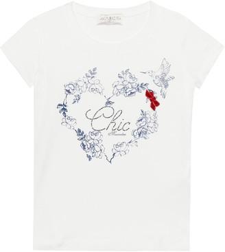 MonnaLisa Embellished floral cotton T-shirt
